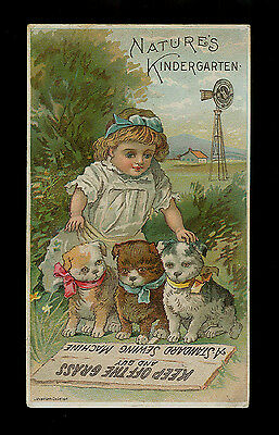 Nature's Kindergarten-Girl Trains 3 Three Adorable Puppies-Victorian Trade Card