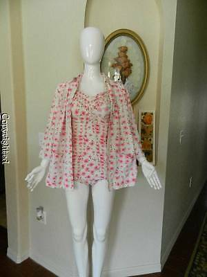 "Vtg 40""s 50's Jantzen pink floral cotton pinup suit with cover-up Med size 16"