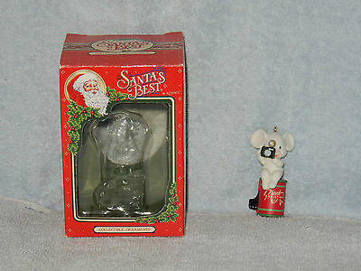 Santa's Best Rennoc Mouse w Camera Photography Merry Christmas Ornament in Box