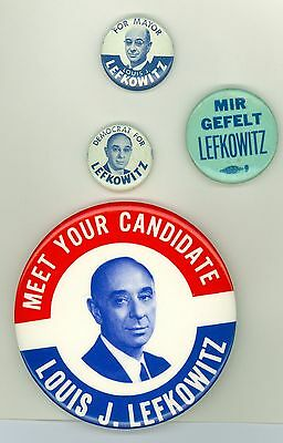 4 Vintage 1961 New York Mayor Lefkowitz Political Campaign Pinback Buttons