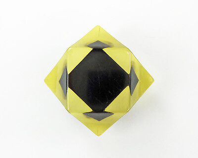 Vintage Applejuice Bakelite Button with an Optical Illusion Inlaid Black Square