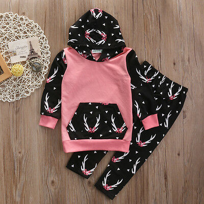 Toddler Kids Baby Girls Floral Outfits Clothes T-shirt Tops+Long Pants 2PCS Set