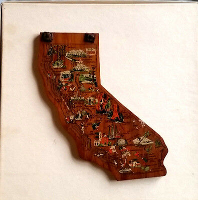 """Vintage CALIFORNIA Wooden Shape Plaque 7.75"""" Colorful Illustrations,Attractions"""