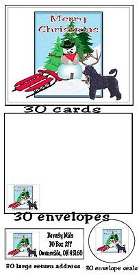 120 piece Portuguese Water Dog Christmas card set