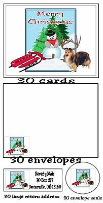 120 piece Shetland Sheepdog Sheltie Christmas card set