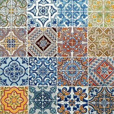 NEW Set of 4 Ceramic wall Tiles vintage Moroccan mix kitchen bathroom gloss fini