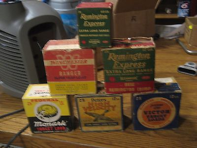 5 Vintage Empty Shotgun Shell boxes-Peters, Remington,Winchester,Federal NO RESE