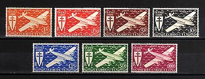37-DJIBOUTI-complet set AIRMAIL.Aerien.LONDRES.Yvt.1-7.MNH.1943.FRENCH colonies.