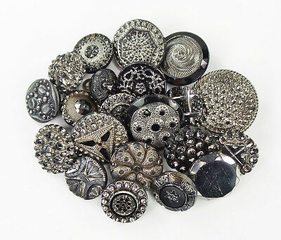 Lot of Antique Black Glass Buttons with Silver Luster Imitation Beaded Fabric +