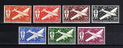 3-AFRIQUE EQUATORIALE FRAN.-complet set AIRMAIL.LONDRES.Yvt.22-28.MH.1941.FRENCH