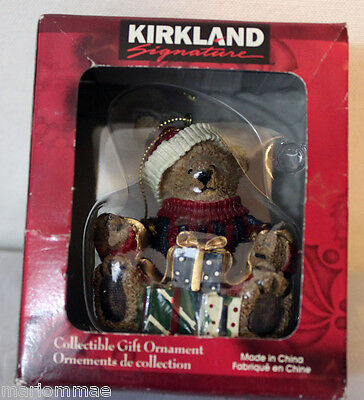 Kirkland Signature Bear With Christmas Presents Collectible Gift Ornament NEW