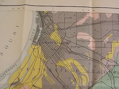 Antique 1902 Map Illinois St Clair County East St Louis Lebanon Approx 32 X 36