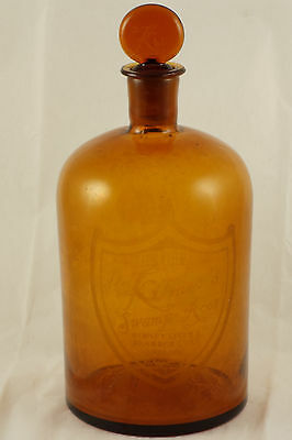 Large Rare Dr. Kilmer's Swamp Root Apothecary Pharmacy Amber Bottle Etched Logo