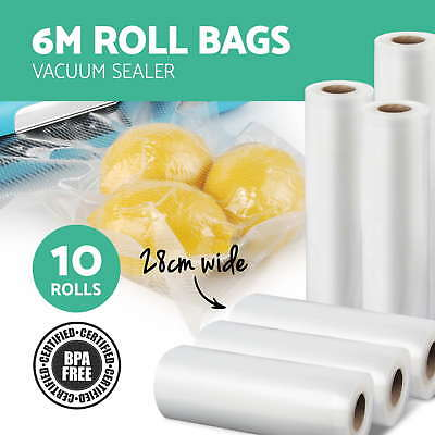 NEW 10X Vacuum Food Sealer Rolls Saver Seal Bag Storage Heat Commercial 28CM 6M