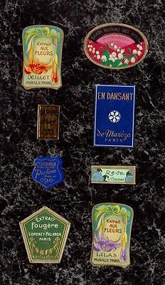 Lot 8 Very Small Antique & Vintage Gilded French Perfume Labels