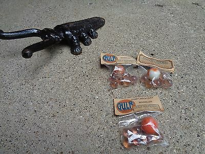 """Vintage Nos Gulf Gas/oil """"shooters"""" Marbles (7 Marbles) In Unopened Package Good"""