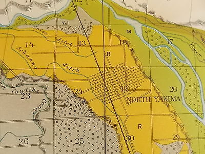 Antique 1901 Map Washington State Yakima Area Indian Reservation Approx 12 X 28