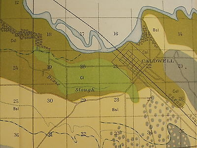 Antique 1901 Map Idaho Caldwell Nampa Roswell Approx 31 X 22