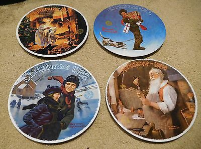 Lot of 4 Norman Rockwell Christmas Collector Plates