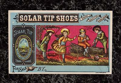 Children Playing Solar Tip Shoes Victorian Trade Card John Mundell & Co