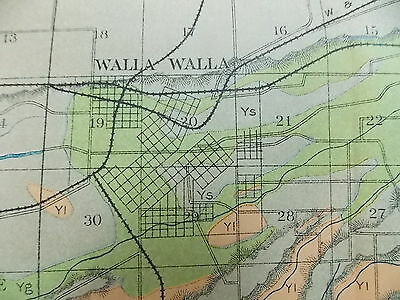 Antique 1902 Map Washington Walla Walla College Place Whitman Approx 27 X 12
