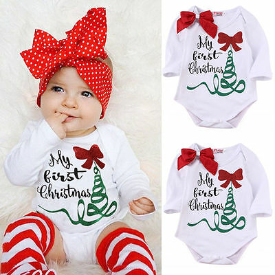 USA Seller Newborn Baby Girl Romper Bodysuit Jumpsuit My First Christmas Outfits