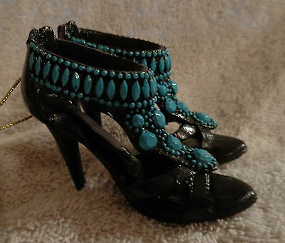Sexy Black And Blue  High- Heeled Shoes  Christmas Ornament - Nwt - Beautiful!