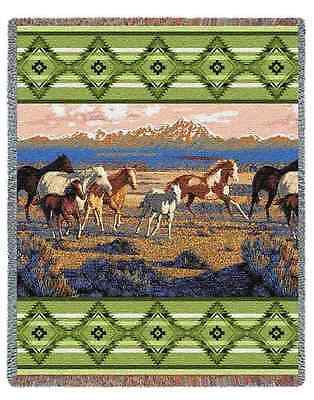 SOUTHWEST MAJESTIC MOUNTAINS WESTERN WILD HORSES THROW AFGHAN BLANKET 54x70