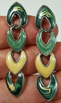 Vtg Jewelry Earrings Pierced Green/Yellow Enamel Dangle Unique Beautiful #4387
