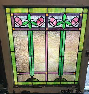 """Antique 1920's Stained Leaded Glass Colorful 31"""" by 28"""""""