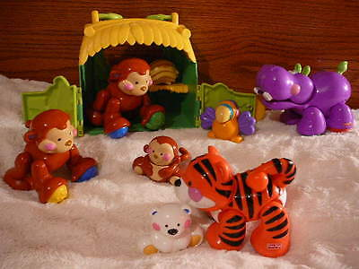 Amazing Animals Lot 9 Talking Monkey Tote Complete Set Hippo Tiger Polar Bear