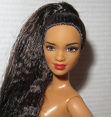 (C) Nude Barbie (C) ~ Raven Brown Eyes Aa Petite Mbili Fashionista Doll For Ooak