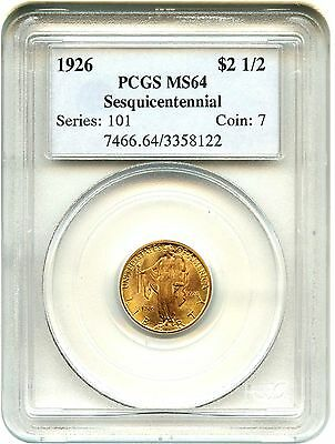1926 Sesquicentennial $2 1/2 PCGS MS64 - Classic Commemorative - Gold Coin