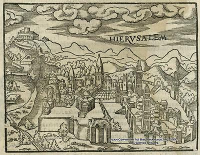 Rare Pantaleon Jerusalem Map ca1581 Original 32054
