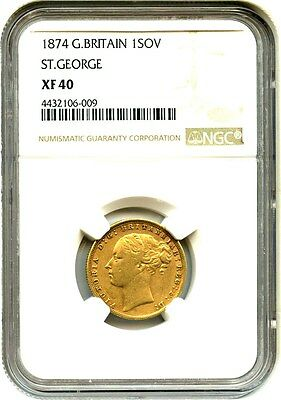 Great Britain: 1874 Gold Sovereign NGC XF40 (KM# 752) .2355oz Gold