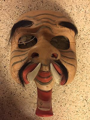 Vintage Japanese Noh Mask with Hair