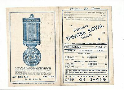 Everyman's Theatre Royal Programme from 1945 'Follow The Drum'