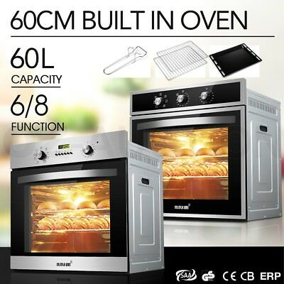 60CM Electric Convection Built in Wall Oven Grill Stainless Steel Fan Forced