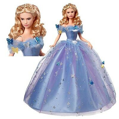 Rare Mattel Royal Blue Ball Gown Cinderella Doll Live Action Film BRAND NEW