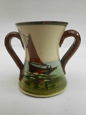 Small Devon/Torquay Moto Ware ** I WISH YOU ALL THE JOY ... ** Two Handled Vase