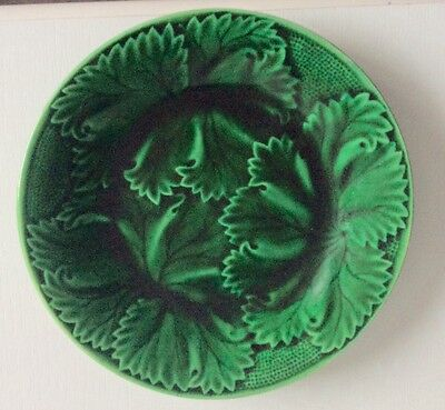 CLAIRFONTAINE FRENCH GREEN MAJOLICA DESSERT PLATE c.1880
