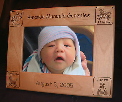 Personalized Engraved 4x6 Baby Announcement Frame