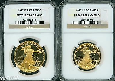 1987 2-Coins Set Gold Eagle 1987-W $50 & 1987-P $25 Ngc Pr70 Proof Pf70 Pf-70