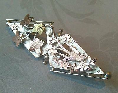 Antique Sterling Silver & 9Ct Rose Gold Swallow Brooch Pin 1908 S.bros