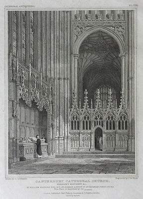 CANTERBURY CATHEDRAL, WARHAM'S MONUMENT - 19th CENTURY ANTIQUE ENGRAVING c1823