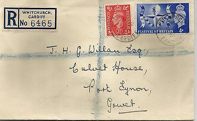 King George Vi Cover 1951 With Whitchurch Cardiff Cancel Ref 59