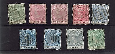 ST CHRISTOPHER 1882-90 QUEEN VICTORIA USED+ UNUSED 4d GREY UN 4d BLUE USED 61