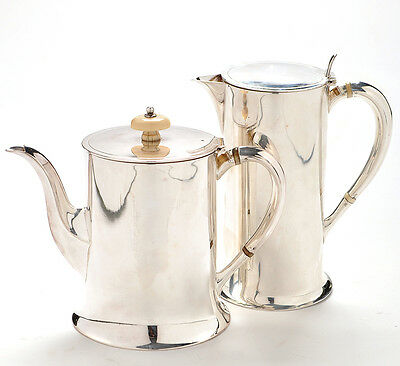 Antique Solid Silver Teapot and Hot Water Jug Set 1910