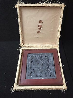 Vtg Hand Carved South east asian lava stone wall Hanging statue wood Frame