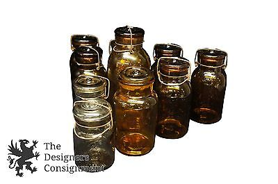 10 Amber and Clear Putnam Lidded Lightning Fruit Canning Preserves Jars Antique